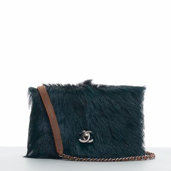 CHANEL AW13 green goat hair fur quilted brown leather WOC shoulder chain bag