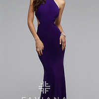 Faviana High Neck Open Back Long Dress