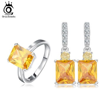 ORSA JEWELS Luxury Zircon Ring Earring Set with 4 Carat Emerald Cut Yellow Simulated Diamond Fantastic Women Jewelry Set OS69
