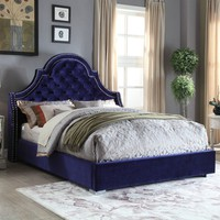 Madison Navy Velvet Queen Bed