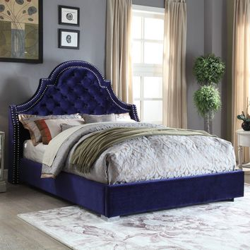 Madison Navy Velvet King Bed
