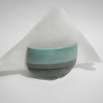 Napkin Holder, Kitchen Sponge Caddy, Sink Tidy, Sponge Cup Handmade Teal and Turquoise Pottery