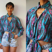 Vtg Feathers Print Cut Out Chest Front Tie LS Crop Shirt