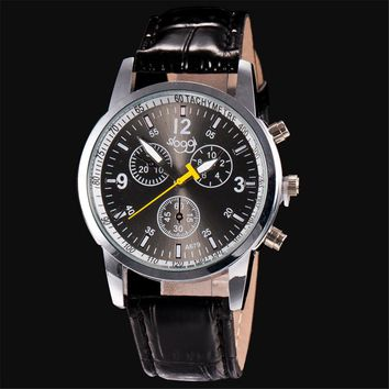 Retro Design 3 Eyes Luxury Watch Men Top Brand Luxury Leather Army Watches Sports Watches For Men