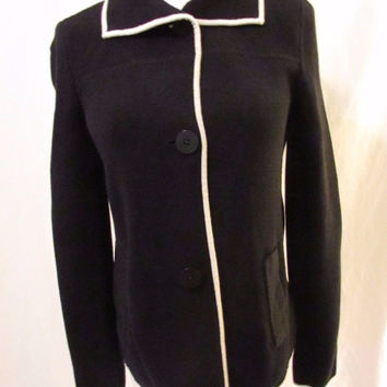 Talbots Women's Collared Cardigan Size XS Black Button Front Cream Trim Pockets