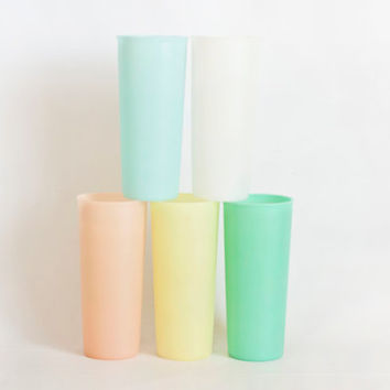 Set of 4 Vintage Pastel Tupperware Cups Iced Tea Tumblers, Tall Tupper Ware Tumbler Set Green Orange Pink