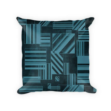 Rectangles Abstract I Cotton Poly Throw Pillow