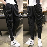 2016 Spring Summer mens skinny sweatpants Casual brand Hip Hop Dance Black Pants male Pleated casual  harem Trousers