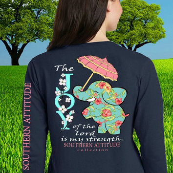 Southern Attitude Preppy Joy Elephant Navy Long Sleeve T-Shirt