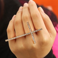 Fashion Rhinestone Cross 3 Fingers Ring