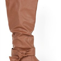 Flat Boot with Slouched Shaft and Side Knot