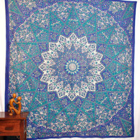 Mandala Blanket- Blue and Purple Elephants