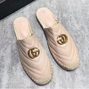GUCCI Fashion New Weave Women Leather Leisure Shoes Slippers
