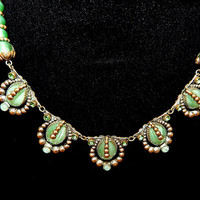 Max Neiger Czech, Deco, Jade Glass Necklace