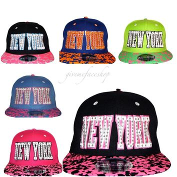 NY diamante snapback caps, leopard flat peak baseball hats fits kids &adult
