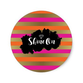 Shine On Pink Orange & Faux Gold Metallic Stripe Classic Round Sticker