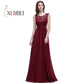 Dama de honor Robe Mariage A Line Navy Burgundy Lace Chiffon Bridesmaid Dresses Long 2017 Cheap Prom Dresses Party Gowns