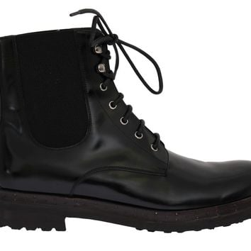 Black Leather Ankle Stretch Boots