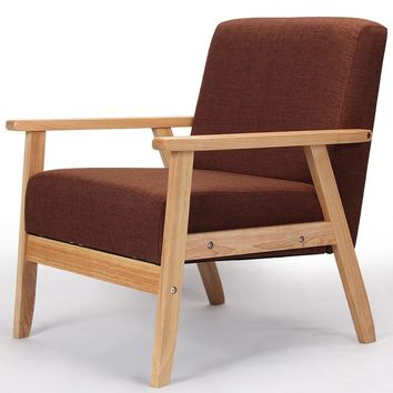 Wooden Low-Seat Armchairs Sofa Fabric Upholstery Seat&Back Living Room Furniture Sofa Leisure Arm Chair Single Couch Wood Legs