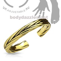 Gold Adjustable Double Braided Toe Ring