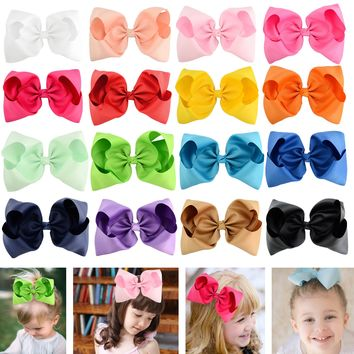 "16 Pcs/Lot Grosgrain 8"" Big Large Bow Hair Clips for Baby Girl Toddlers Kids Children Women Handmade Barrettes Hair Accessories"