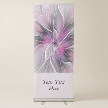 Floral, Modern Abstract Flower Pink Gray Text Retractable Banner