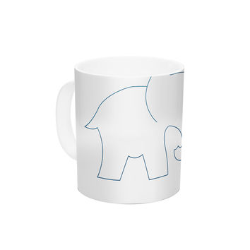 "NL Designs ""Black And White Elephant Love"" Black White Ceramic Coffee Mug"