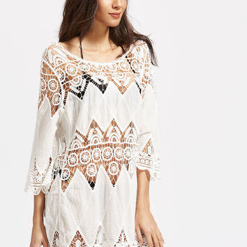 White Boat Neck Crochet Scallop Hem Cover Up Dress