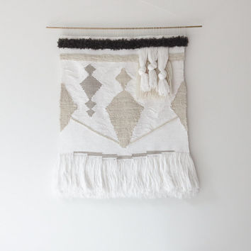 large handwoven wall hanging tapestry weaving   no. 072814