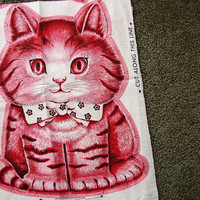 Vintage Charlie the Kitten Fabric Panel Easy Stuff and Sew Pillow