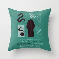 Slytherin- Harry Potter Minimalist Throw Pillow by AbbieImagine