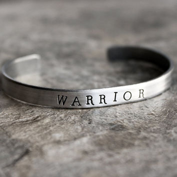 Warrior Hand Stamped Cuff Bracelet in Silver