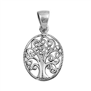 "Sterling Silver Tree of Life Wiccan Pendant 19MM (Free 18"" Chain)"