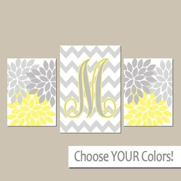 Yellow Gray Nursery Wall Art, Baby Shower, Girl Monogram Pictures, Floral Girl Bedroom Decor, CANVAS or Prints, Above Crib Decor, Set of 3