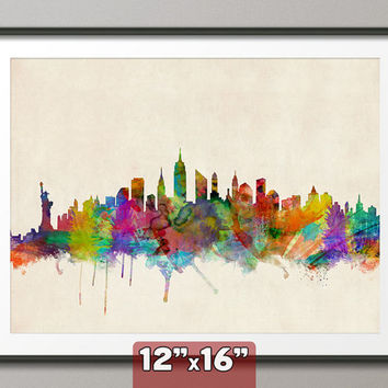 New York City Skyline Art Print 12x16 inch 295 by artPause on Etsy