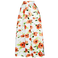 African Print Ankara Dashiki Bohemian High Waist Pleated A-Line Maxi Flare Skirt in White