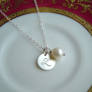 Sterling Silver Initial Disc Freshwater Pearl Necklace, Hand stamped, Initial Charm, Personalized, Monogram, Gift