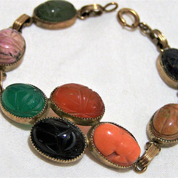 Admark Art Deco Scarab Bracelet 12k Gold Filled. Rare Coral Cameo Stone, Vintage Jewellery, Lapis, Chrysoprase, Carnelian,  Unakite 317