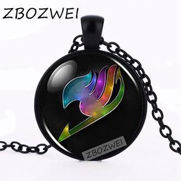 ZBOZWEI JP Anime Fairy Tail Guild Marks Rainbow Wing Pendant Steampunk Necklace doctor dr who chain jewelry women vintage chain