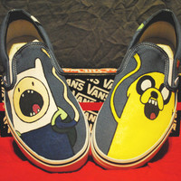 Adventure Time Adult Custom Vans / Slip-ons
