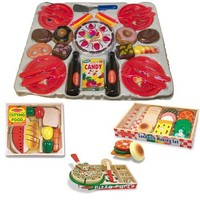 Melissa & Doug Deluxe Wooden Food Bundle with Sandwich-Making Set, Pizza Party, Cutting Food Box Plus Agglo 36 Piece Birthday Set