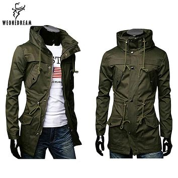 WEONEDREAM Casual Slim Overcoat Stylish Mens Long Trench Coat Europe Trenchcoat Jacket Windbreaker Male Coat Trench M-2XL