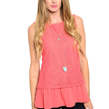 Sleeveless Lace Blouse W/ Ruffled Peplum Hem