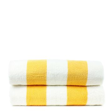 Luxury Hotel Collection 100% - CottonPool Beach Towel, 30x70 Inches - Set of 2 - Cabana - Extra Absorbent 100% Cotton - For Beach, Gym and Spa - Yellow