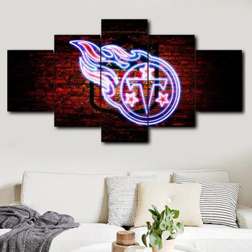 5 pieces Tennessee Titans sport logo canvas painting print poster frame wall art modern modular mural decoration