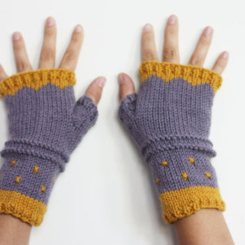 SALE - Fingerless gloves  - mustard lilac handwarmers - polka dots