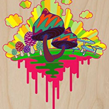 'Drippy Mushrooms' Funny Hippy Shroom Dripping Design Artwork - Plywood Wood Print Poster Wall Art