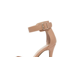 Point the Way Natural Ankle Strap Heels