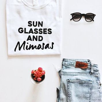 Summer O-Neck Aesthetic Casual Cotton Tee sun glasses and mimosas T-Shirt Graphic Funny Girl Tumblr Tops Champagne Outfits shirt