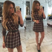 Women's Plaid Dress Long Sleeve Plus Size Vintage Dress